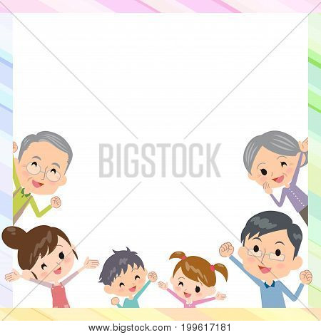 family three generations frame design template illustration