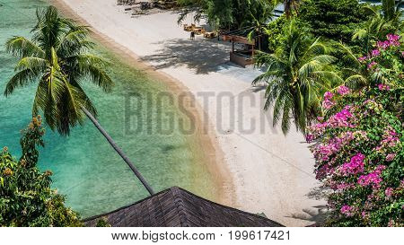 Top view of empty tropical resort sandy beach with turquoise clear water and palm trees in gulf of thailand. Haad Salat beach. Ko Phangan, Thailand.