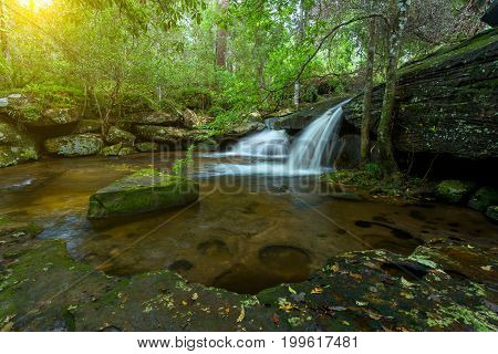 Waterfall in rainforest at National Park Thailand