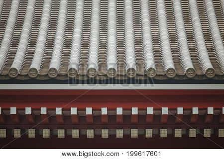 Decoration of ancient temple roof in Japan