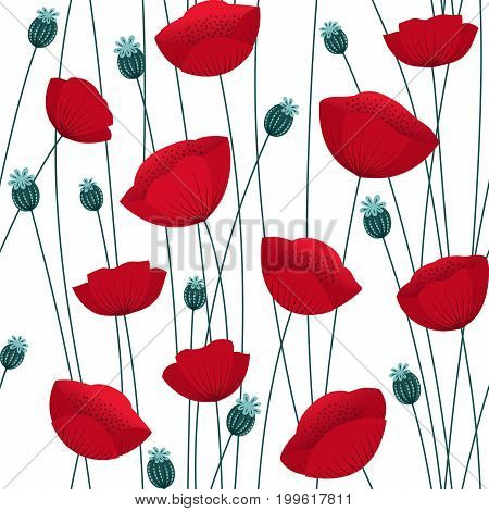 Floral seamless pattern with poppy flowers on white background. Stock vector endless backdrop.