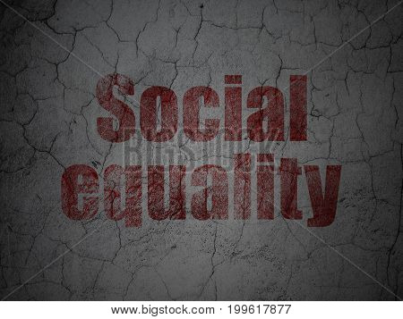 Political concept: Red Social Equality on grunge textured concrete wall background