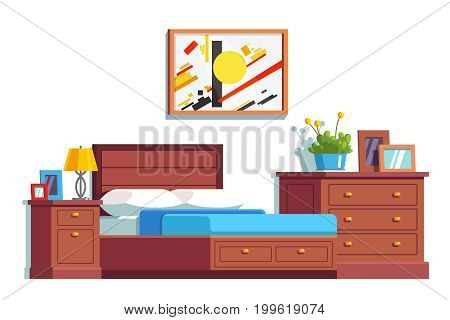 Modern minimalist design room interior with big double bed, bedside table and chest of drawers. Bedroom decoration and furniture. Flat style vector illustration isolated on white background.