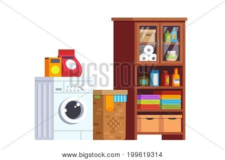 Laundry room interior design with washing machine, basket, soap powder, cupboard full of boxes, clothes and household objects. Home decoration and furniture. Flat style vector isolated illustration.
