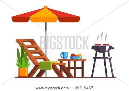 Modern backyard design exterior with lounger, table, sunshade umbrella and electric grill for barbecue. Cooking meat, grilling bbq outside. Flat style vector illustration isolated on white background.
