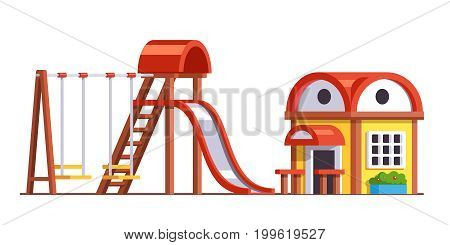 Modern minimalist school playground design or public park exterior with wooden slide, swings and playhouse for kids. Flat style vector illustration isolated on white background.