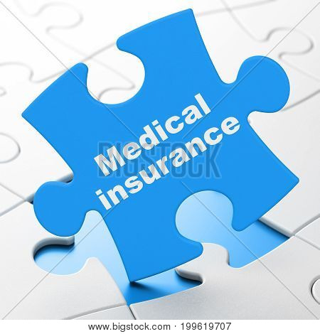 Insurance concept: Medical Insurance on Blue puzzle pieces background, 3D rendering