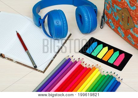 School Supplies. School Backpack, Book, Color Pencils, Notebook With Pen, Color Bookmarks And Headph