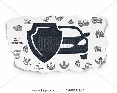 Insurance concept: Painted black Car And Shield icon on Torn Paper background with  Hand Drawn Insurance Icons