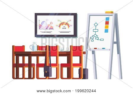 Boardroom interior design with table, chairs, white board, tv screen with graphics. Conference hall or meeting room decoration furniture. Flat style vector illustration isolated on white background.