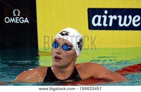 Hong Kong China - Oct 30 2016. Katinka HOSSZU (HUN) at the start of the Women's Butterfly 200m Final. FINA Swimming World Cup Victoria Park Swimming Pool.