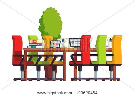 Modern boardroom interior design with big table, chairs and laptop computer. Conference hall or meeting room decoration and furniture. Flat style vector illustration isolated on white background.