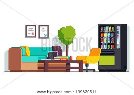 Modern corporate business office waiting room interior design or clinic with coffee table, couch, and vending machine. Flat style vector illustration isolated on white background.