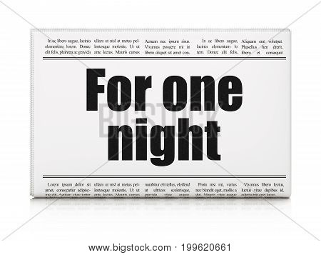 Travel concept: newspaper headline For One Night on White background, 3D rendering
