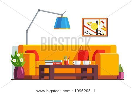 Office waiting room or home living room interior with coffee table, corner sofa and adjustable standard lamp. Decoration and furniture. Flat style vector illustration isolated on white background.
