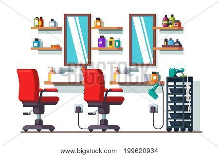 Woman beauty hairdressing salon interior design with chairs, mirrors, shelves and sinks. Barber shop decoration and furniture. Flat style vector illustration isolated on white background.