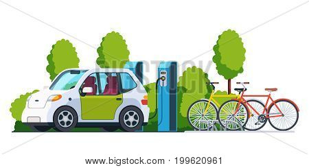 Electric car charging outside at refuelling power station. Bikes on a bicycle parking. Modern technology and environment care concept. Flat style vector illustration isolated on white background.