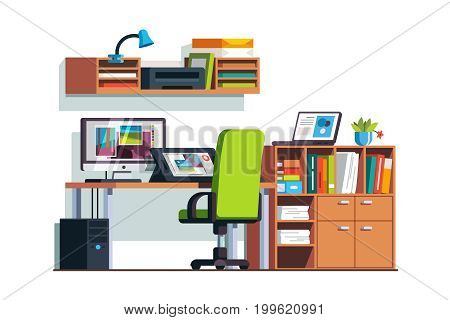 Modern illustrator and designer room with graphic tablet, desktop, laptop computers, chair, cupboard shelves. Digital artist office. Flat style vector illustration isolated on white background.