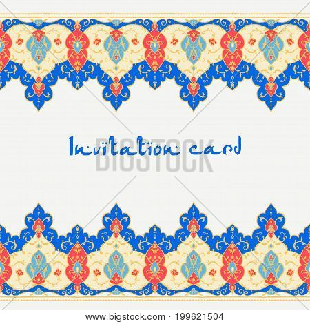 Islamic floral card in Victorian style, arabesque design. Ornamentsfor cafe, banner, wedding invitation, book cover, certificate. Save the date. India, Arabic Dubai turkish Islam