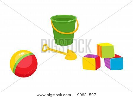 Set of vector baby toys in flat style. Cubic blocks, striped rubber ball, baby bucket and sand shovel. Isolated illustration on a white background. Children education, growth and development concept.