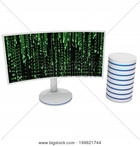 White Curved LCD tv screen server hard disk and abstract matrix binary computer code. 3d render isolated on white.