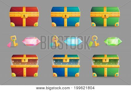 Illustration of an ancient treasure chest locked and open in various color schemes, matching set of keys and precious shining gemstones.