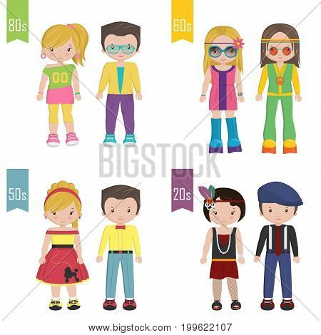 A set of 20th century trendy outfits disguise costumes of different decades. Retro vintage 20s, rock-n-roll pin-up 50s, hippie acid 60s, hipster teenager 80s.
