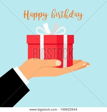 Man hand holding gift box with happy birthday text, vector illustration