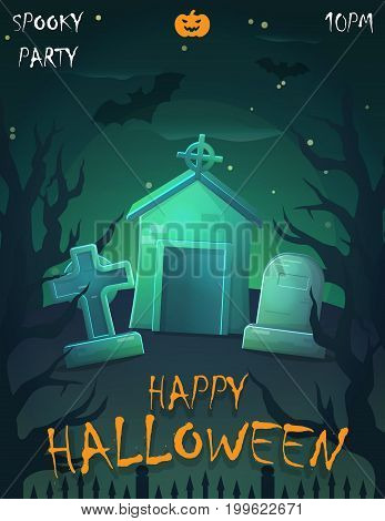 Halloween festive poster card, party invitation template, spooky night landscape, cemetery graveyard fence decoration and moonlight.