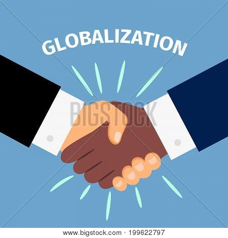Black and white shaking hands. Partnership, agreement, friendship, global international business concepts, vector illustration