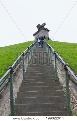 Waterloo Belgium - August 28 2011: Stairs to the top of Lion's Mound Waterloo