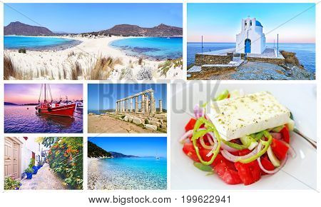 photo collage with greek summer photos - Elafonisos island, Sifnos, sunset boat, Cape Sounion, Hydra, Ithaca, greek salad