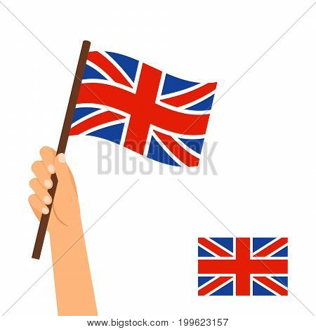 Human hand holding flag of Britain country isolated on white background, vector ilustration