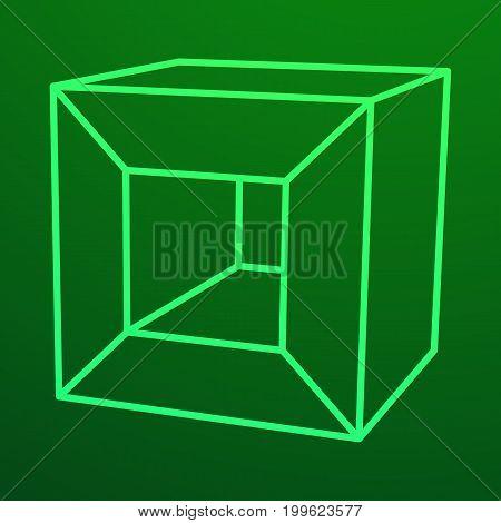 Mesh low poly cube element. Digital Data Visualization Concept. Vector Illustration.