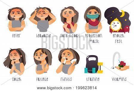 Set of flu, influenza symptoms and curing - headache, rhinitis, coughing, sore throat, cartoon vector illustration isolated on white background. Set of flu symptoms and ways to prevent illness