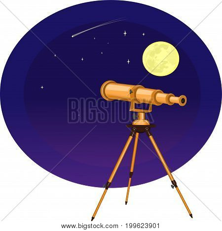 Vector illustration of a telescope on the background of the moon and stars. Night, Starfall astronomy