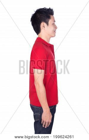Man In Red Polo Shirt Isolated On White Background (side View)