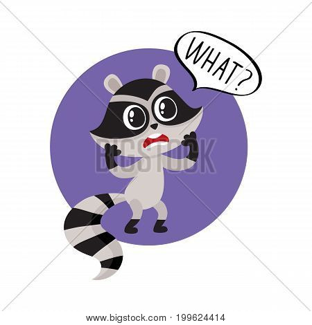 Little raccoon character unpleasantly surprised, exclaiming What, cartoon vector illustration isolated on white background. Little raccoon holding head in paws from disbelief, unpleasant surprised