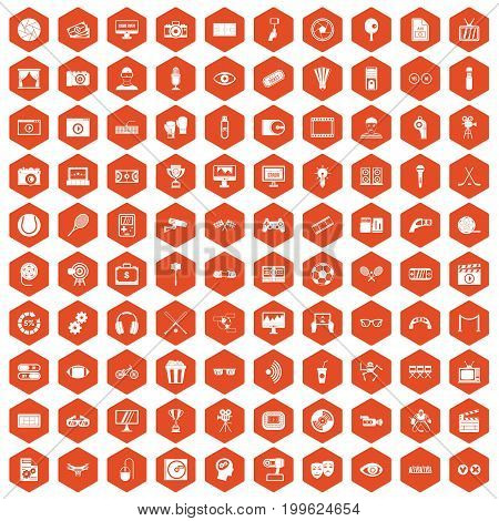 100 video icons set in orange hexagon isolated vector illustration