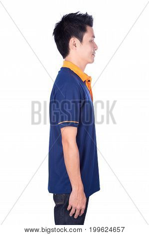 Man In Blue Polo Shirt Isolated On White Background (side View)