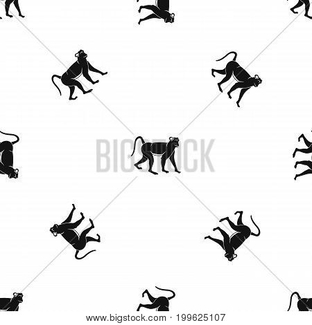 Monkey pattern repeat seamless in black color for any design. Vector geometric illustration