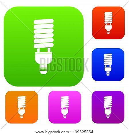 Fluorescent bulb set icon in different colors isolated vector illustration. Premium collection
