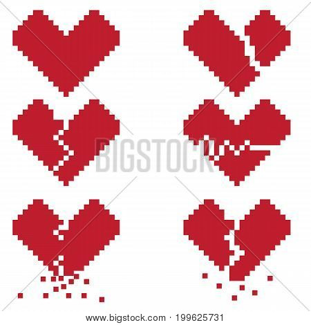 A broken heart is a set of six pixel icons symbolizing a broken love or life. Pictures can be used to create illustrations prints or for the design of computer and console games