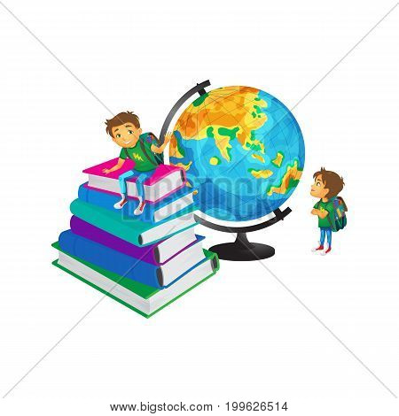 vector cartoon small schoolboy wearing schoolbag looks at big globe studying geography, another boy sits at big books pile . Isolated flat illustration on a white background. Back to school concept