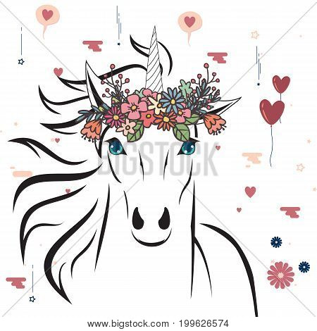 Unicorn with flower crown. Cute vector illustration