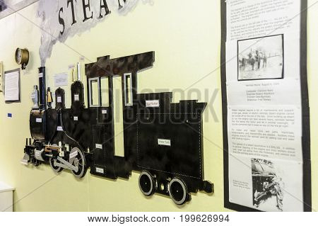 Portland Maine USA - August 10 2009: Display showing steam engine key components at Maine Narrow Gauge Railroad Co & Museum