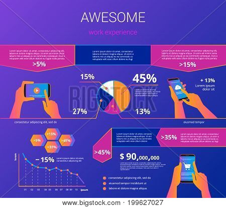 Infographic visualization of usability smartphone. Gradient line vector illustration of human hands hold smart phone for project presentation or e-commerce user experience with design elements