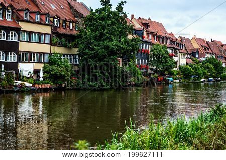Bamberg, old fisherman´s houses called Little Venice on the banks of the Regnitz, Germany
