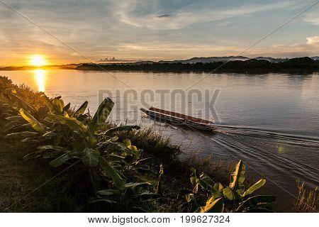 Vintage wooden boat at Mekong River, Loei, Thailand