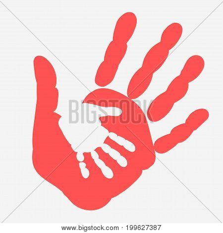 Mother and child Handprint. Palm of woman and baby. Hands - social illustration Vector
